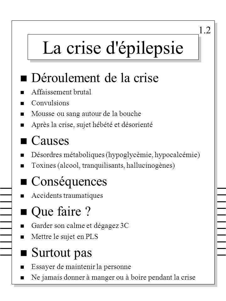 La crise d'épilepsie n Déroulement de la crise n Affaissement brutal n Convulsions n Mousse ou sang autour de la bouche n Après la crise, sujet hébété
