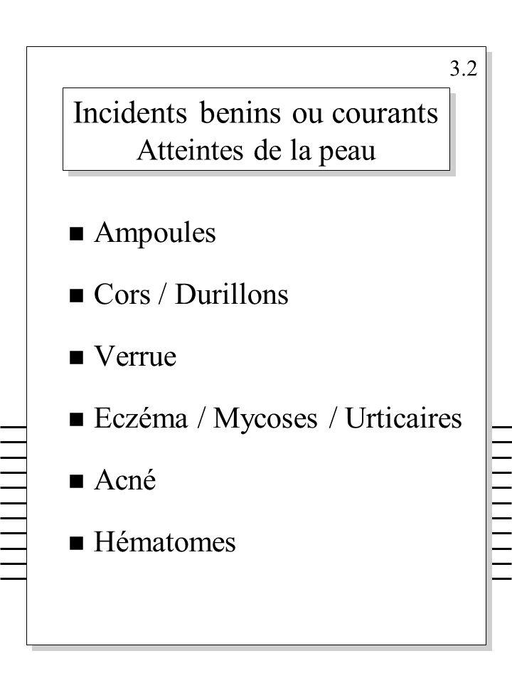 Incidents benins ou courants Atteintes de la peau n Ampoules n Cors / Durillons n Verrue n Eczéma / Mycoses / Urticaires n Acné n Hématomes 3.2