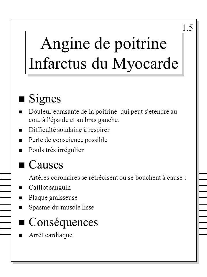 Angine de poitrine Infarctus du Myocarde n Signes n Douleur écrasante de la poitrine qui peut s'etendre au cou, à l'épaule et au bras gauche. n Diffic