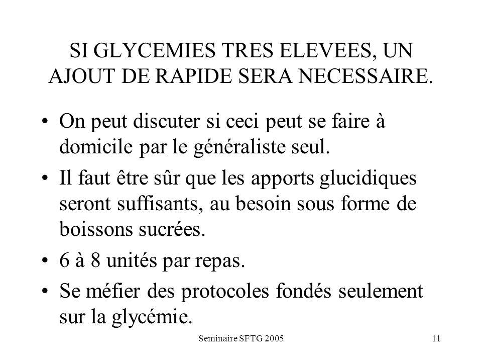 Seminaire SFTG 200511 SI GLYCEMIES TRES ELEVEES, UN AJOUT DE RAPIDE SERA NECESSAIRE.