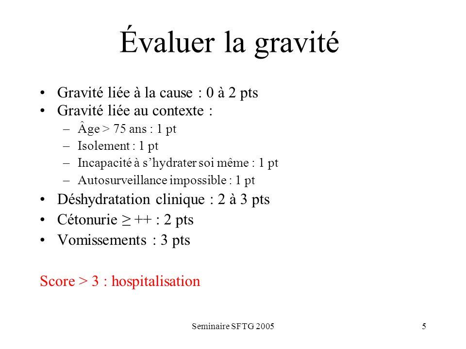 Seminaire SFTG 20055 Évaluer la gravité Gravité liée à la cause : 0 à 2 pts Gravité liée au contexte : –Âge > 75 ans : 1 pt –Isolement : 1 pt –Incapac