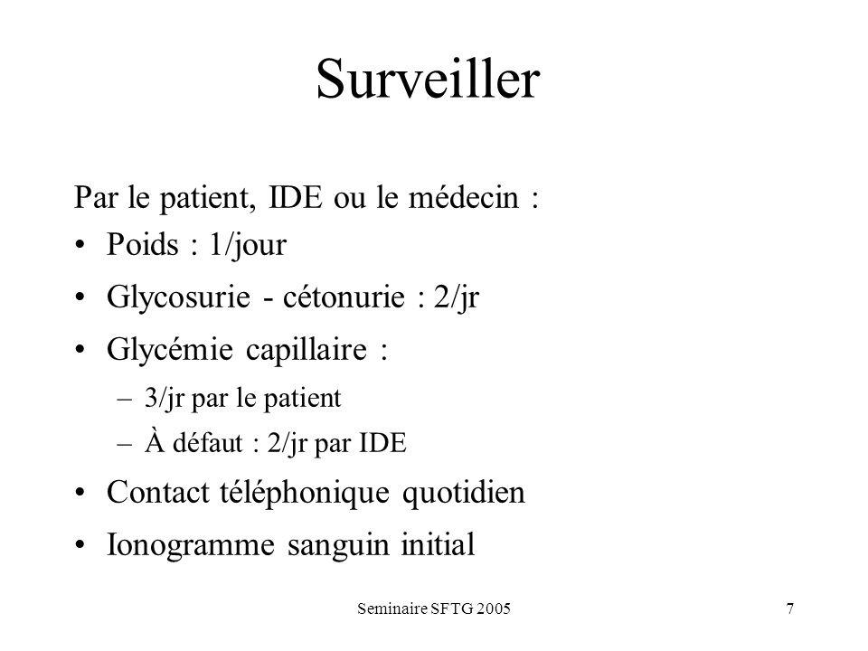 Seminaire SFTG 20057 Surveiller Par le patient, IDE ou le médecin : Poids : 1/jour Glycosurie - cétonurie : 2/jr Glycémie capillaire : –3/jr par le pa