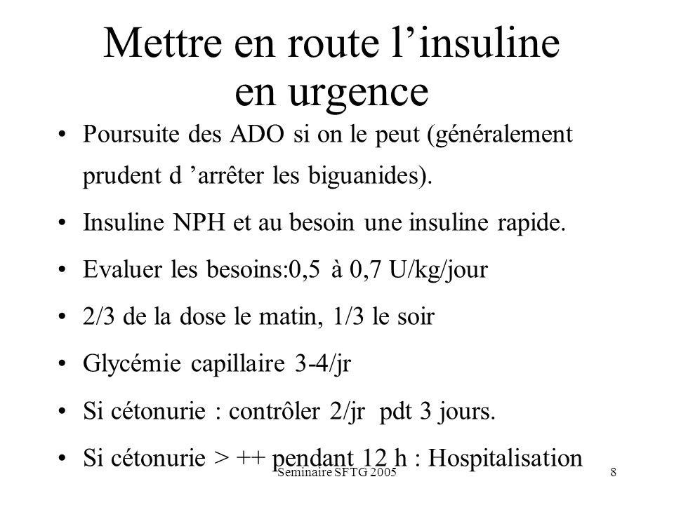 Seminaire SFTG 20058 Mettre en route linsuline en urgence Poursuite des ADO si on le peut (généralement prudent d arrêter les biguanides). Insuline NP
