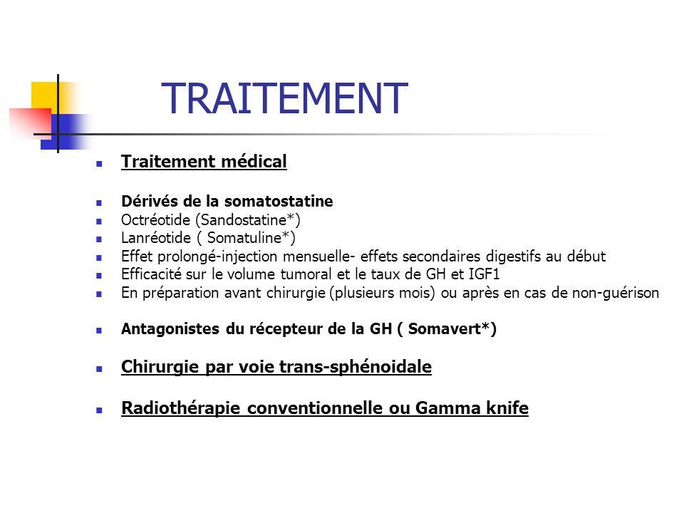 TRAITEMENT Traitement médical Dérivés de la somatostatine Octréotide (Sandostatine*) Lanréotide ( Somatuline*) Effet prolongé-injection mensuelle- eff