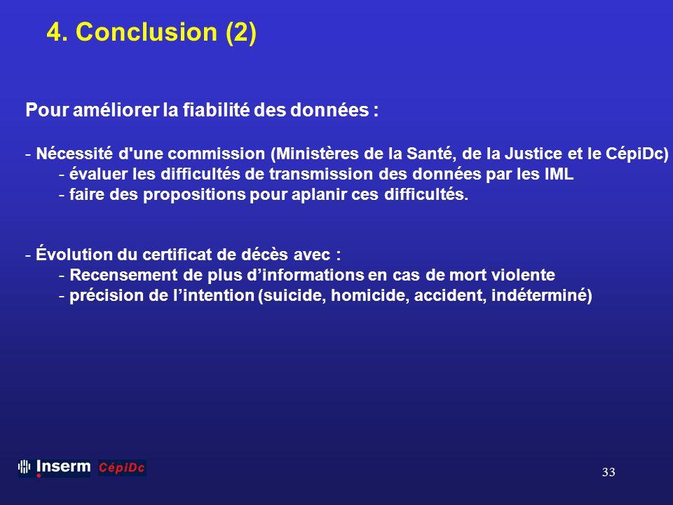 33 4. Conclusion (2) Pour améliorer la fiabilité des données : - Nécessité d'une commission (Ministères de la Santé, de la Justice et le CépiDc) - éva