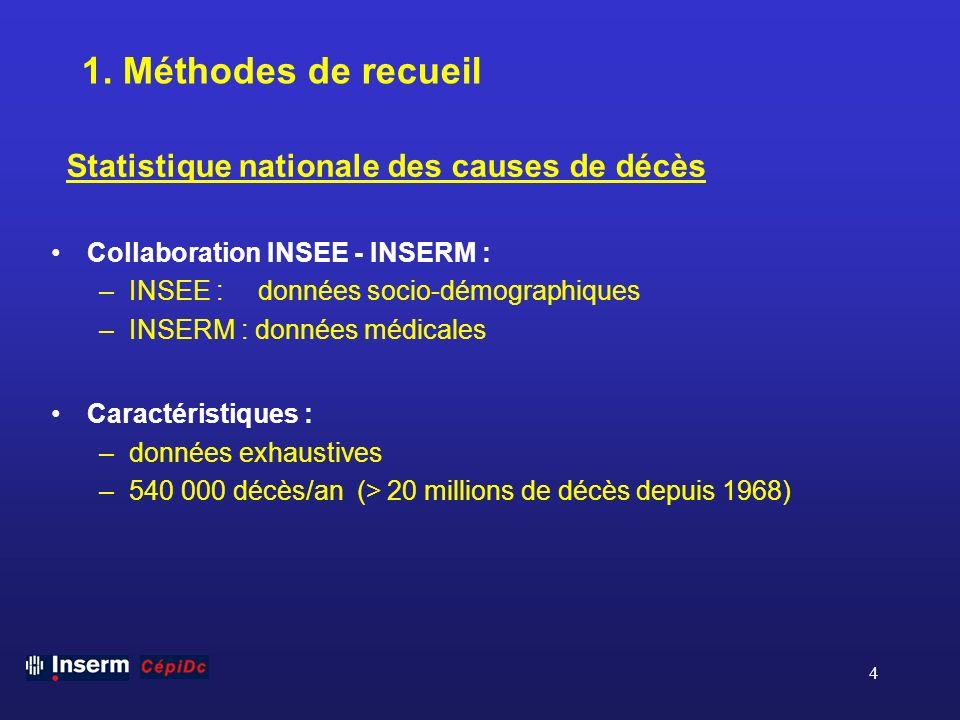 4 1. Méthodes de recueil Collaboration INSEE - INSERM : –INSEE : données socio-démographiques –INSERM : données médicales Caractéristiques : –données