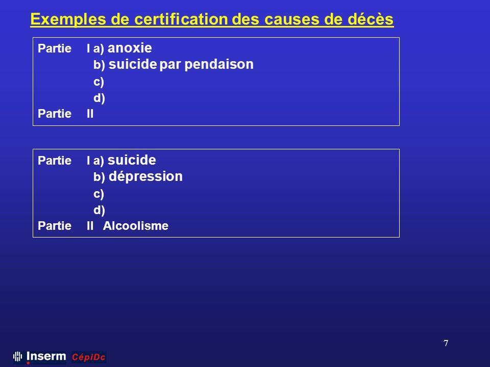 7 Exemples de certification des causes de décès PartieI a) anoxie b) suicide par pendaison c) d) PartieII PartieI a) suicide b) dépression c) d) Parti
