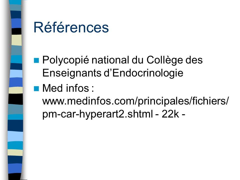Références Polycopié national du Collège des Enseignants dEndocrinologie Med infos : www.medinfos.com/principales/fichiers/ pm-car-hyperart2.shtml - 2
