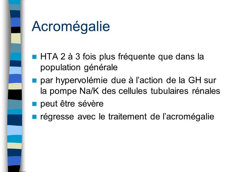 Hyperthyroïdie HTA uniquement systolique par augmentation du débit cardiaque Diminution des résistances vasculaires « Fausse » HTA sans conséquence grave