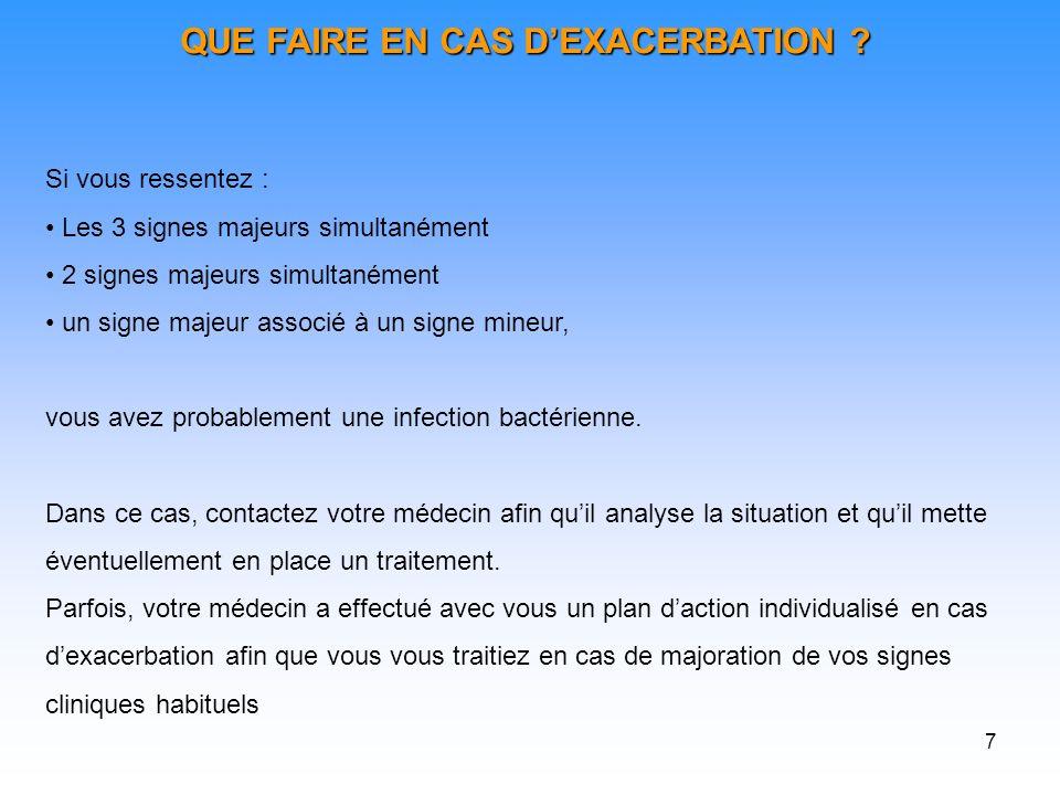 7 QUE FAIRE EN CAS DEXACERBATION .