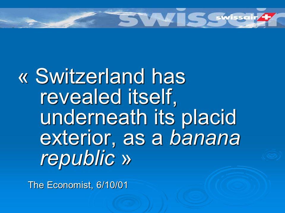 La faillite de Swissair 22 milliards de francs de dette 22 milliards de francs de dette Activité suspendu sans préavis le 2 et 3 Octobre 2001 Activité suspendu sans préavis le 2 et 3 Octobre 2001 18000 passagers « stranded » 18000 passagers « stranded »