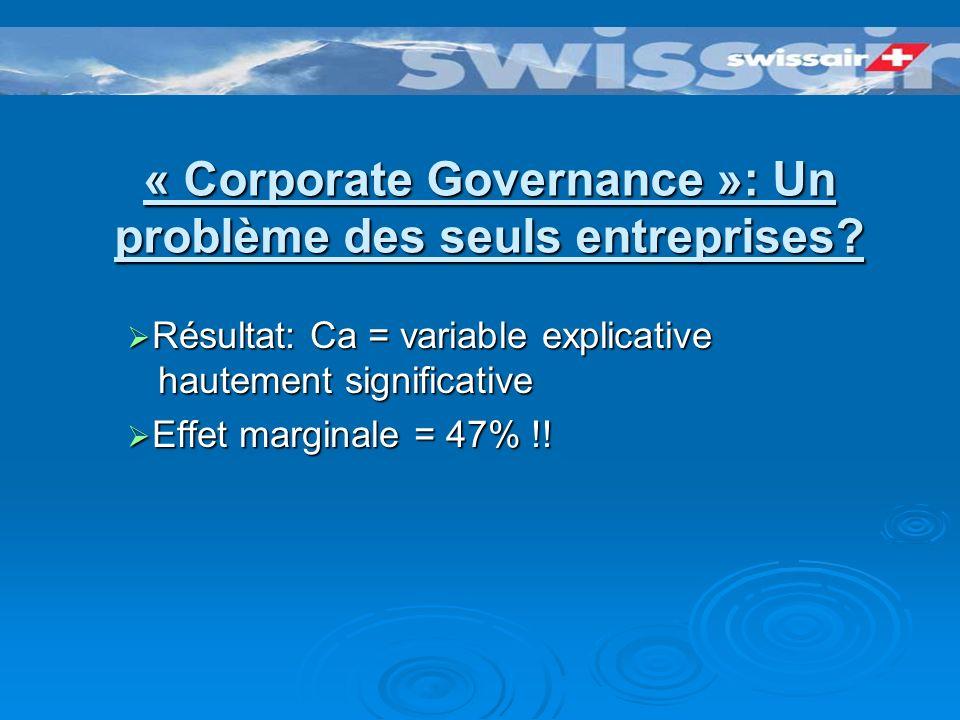 « Corporate Governance »: Un problème des seuls entreprises.