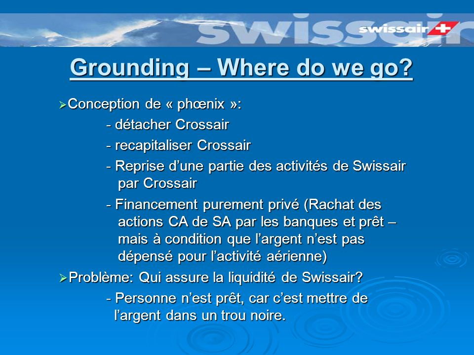 Grounding – Where do we go? Swissair en situation catastrophique déjà avant 11.9.01 Swissair en situation catastrophique déjà avant 11.9.01 18.9.01: C