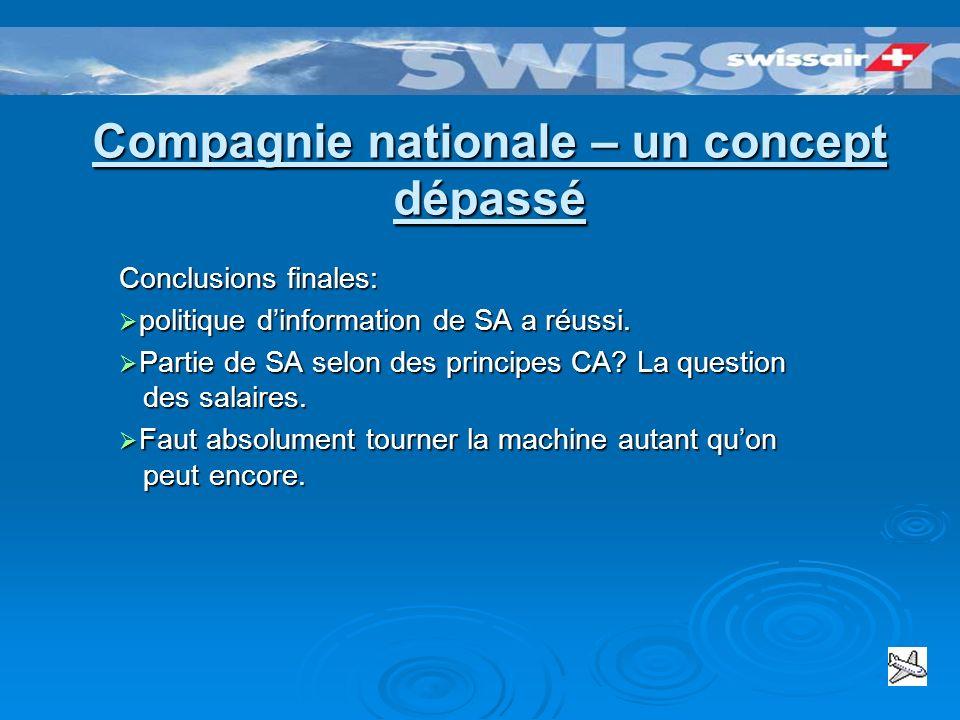 Conclusions – QUESTIONS A ABORDER Sujets proposés: - Swissair: Le symbole - Signification du Hub pour la Suisse – peut-il être tenu avec lintervention.