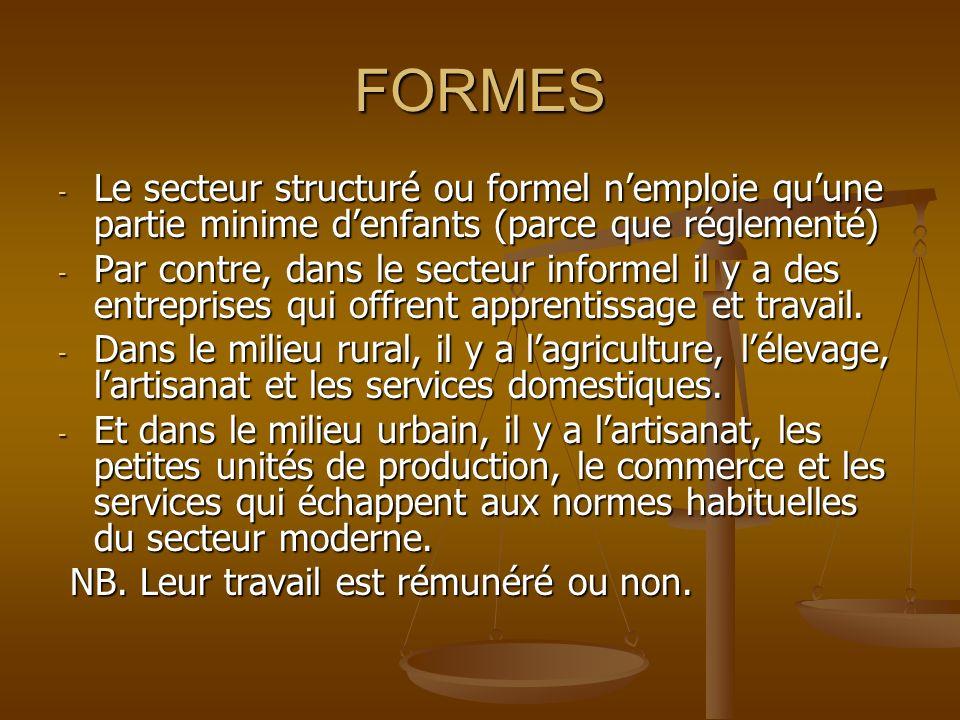 FORMES - Le secteur structuré ou formel nemploie quune partie minime denfants (parce que réglementé) - Par contre, dans le secteur informel il y a des entreprises qui offrent apprentissage et travail.