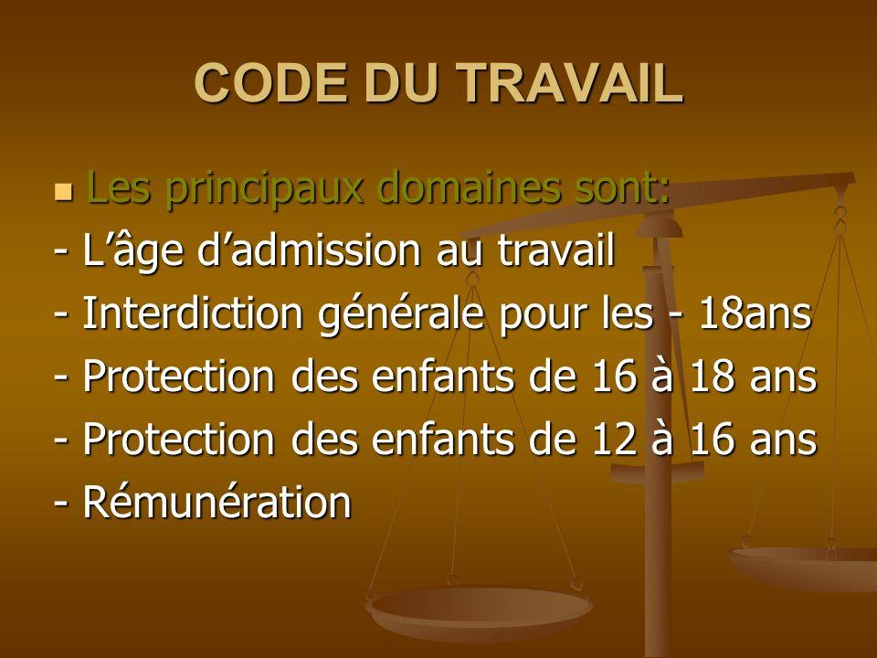 CODE DU TRAVAIL Les principaux domaines sont: Les principaux domaines sont: - Lâge dadmission au travail - Interdiction générale pour les - 18ans - Protection des enfants de 16 à 18 ans - Protection des enfants de 12 à 16 ans - Rémunération
