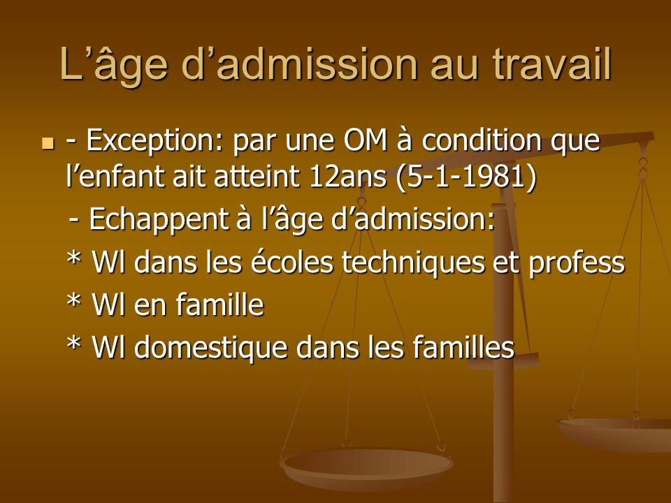Lâge dadmission au travail - Exception: par une OM à condition que lenfant ait atteint 12ans (5-1-1981) - Exception: par une OM à condition que lenfan