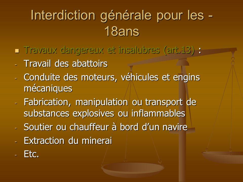 Interdiction générale pour les - 18ans Travaux dangereux et insalubres (art.13) : Travaux dangereux et insalubres (art.13) : - Travail des abattoirs -