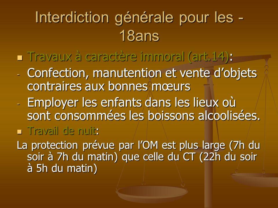 Interdiction générale pour les - 18ans Travaux à caractère immoral (art.14): Travaux à caractère immoral (art.14): - Confection, manutention et vente
