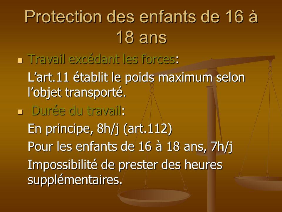 Protection des enfants de 16 à 18 ans Travail excédant les forces: Travail excédant les forces: Lart.11 établit le poids maximum selon lobjet transporté.