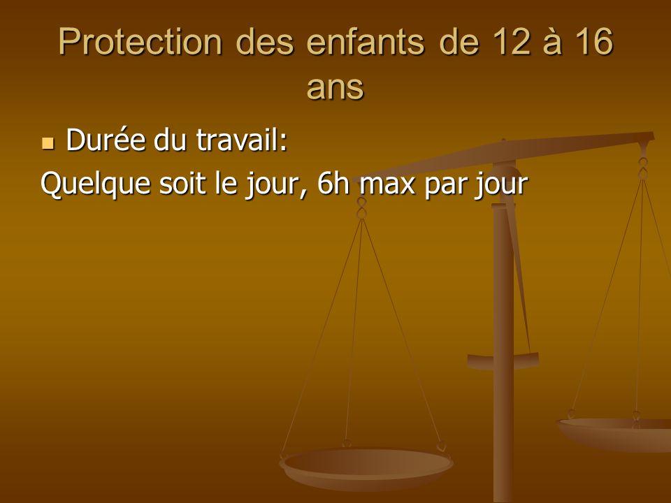 Protection des enfants de 12 à 16 ans Durée du travail: Durée du travail: Quelque soit le jour, 6h max par jour