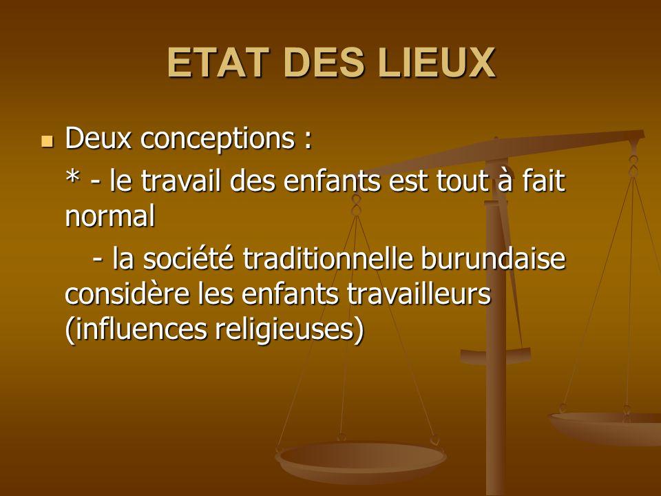 ETAT DES LIEUX Deux conceptions : Deux conceptions : * - le travail des enfants est tout à fait normal - la société traditionnelle burundaise considèr