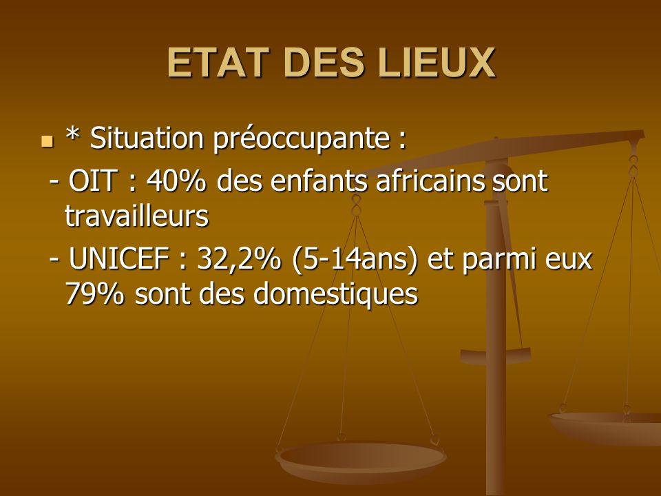 ETAT DES LIEUX * Situation préoccupante : * Situation préoccupante : - OIT : 40% des enfants africains sont travailleurs - OIT : 40% des enfants africains sont travailleurs - UNICEF : 32,2% (5-14ans) et parmi eux 79% sont des domestiques - UNICEF : 32,2% (5-14ans) et parmi eux 79% sont des domestiques