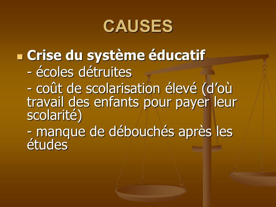 CAUSES Crise du système éducatif Crise du système éducatif - écoles détruites - coût de scolarisation élevé (doù travail des enfants pour payer leur scolarité) - manque de débouchés après les études