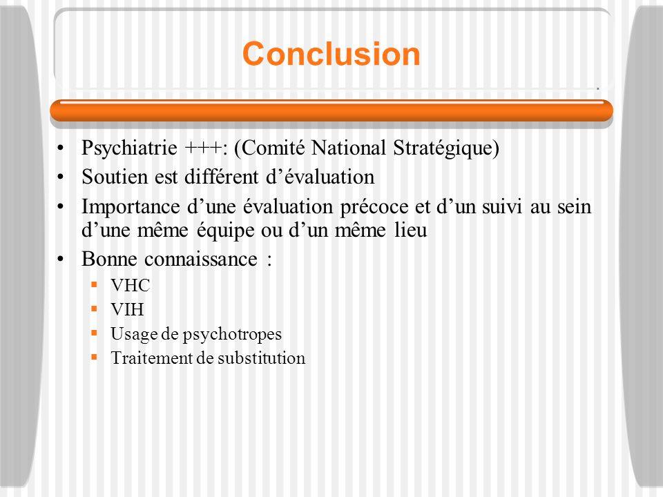 Conclusion Psychiatrie +++: (Comité National Stratégique) Soutien est différent dévaluation Importance dune évaluation précoce et dun suivi au sein dune même équipe ou dun même lieu Bonne connaissance : VHC VIH Usage de psychotropes Traitement de substitution