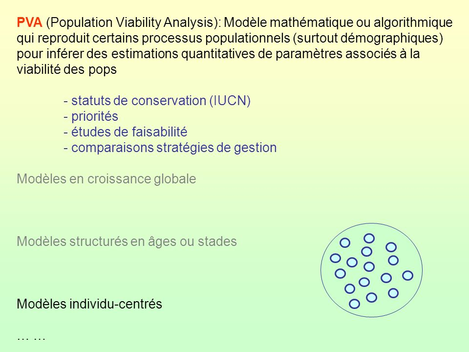 PVA (Population Viability Analysis): Modèle mathématique ou algorithmique qui reproduit certains processus populationnels (surtout démographiques) pou