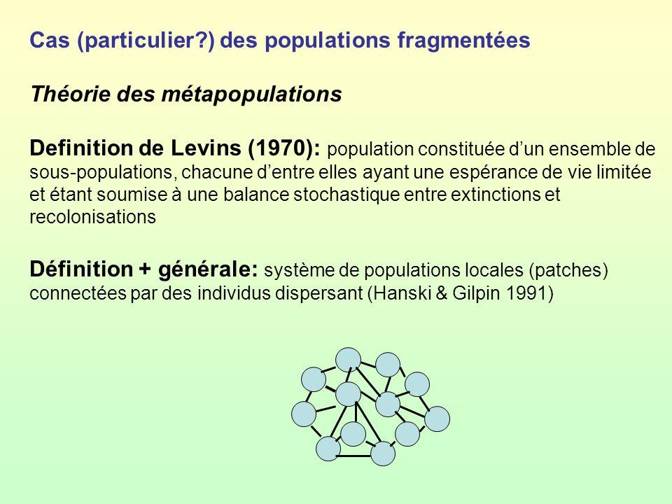 Cas (particulier?) des populations fragmentées Théorie des métapopulations Definition de Levins (1970): population constituée dun ensemble de sous-pop