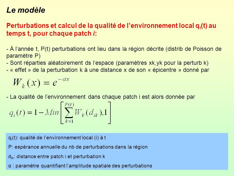 Le modèle Perturbations et calcul de la qualité de lenvironnement local q i (t) au temps t, pour chaque patch i: - À lannée t, P(t) perturbations ont