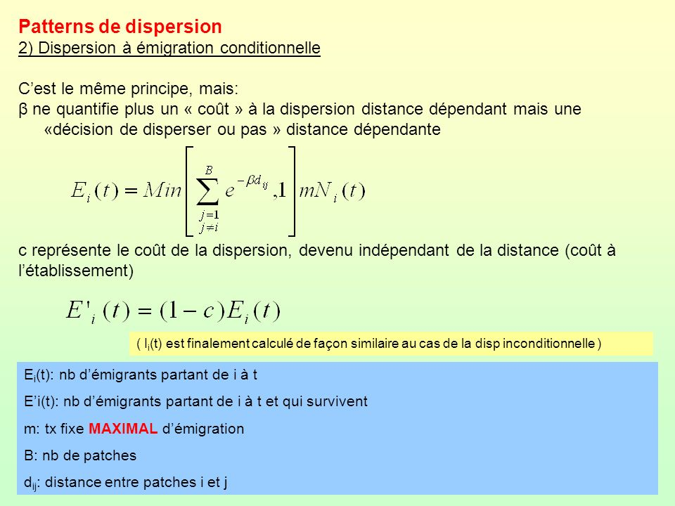 Patterns de dispersion 2) Dispersion à émigration conditionnelle Cest le même principe, mais: β ne quantifie plus un « coût » à la dispersion distance