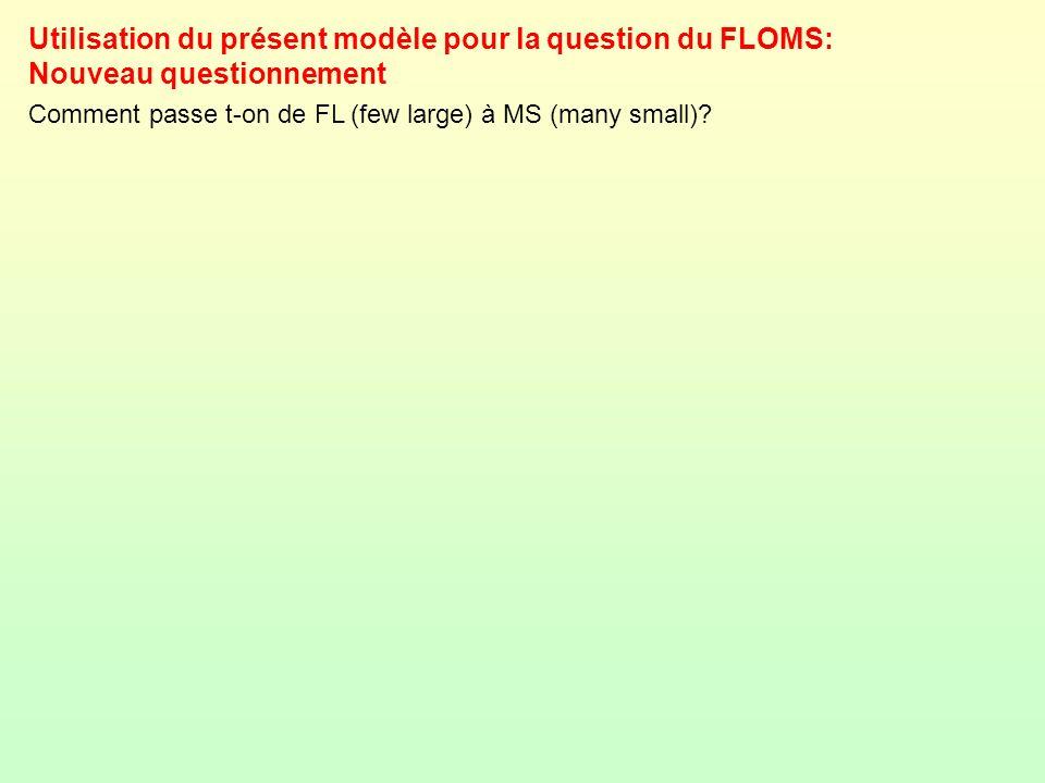 Utilisation du présent modèle pour la question du FLOMS: Nouveau questionnement Comment passe t-on de FL (few large) à MS (many small)?