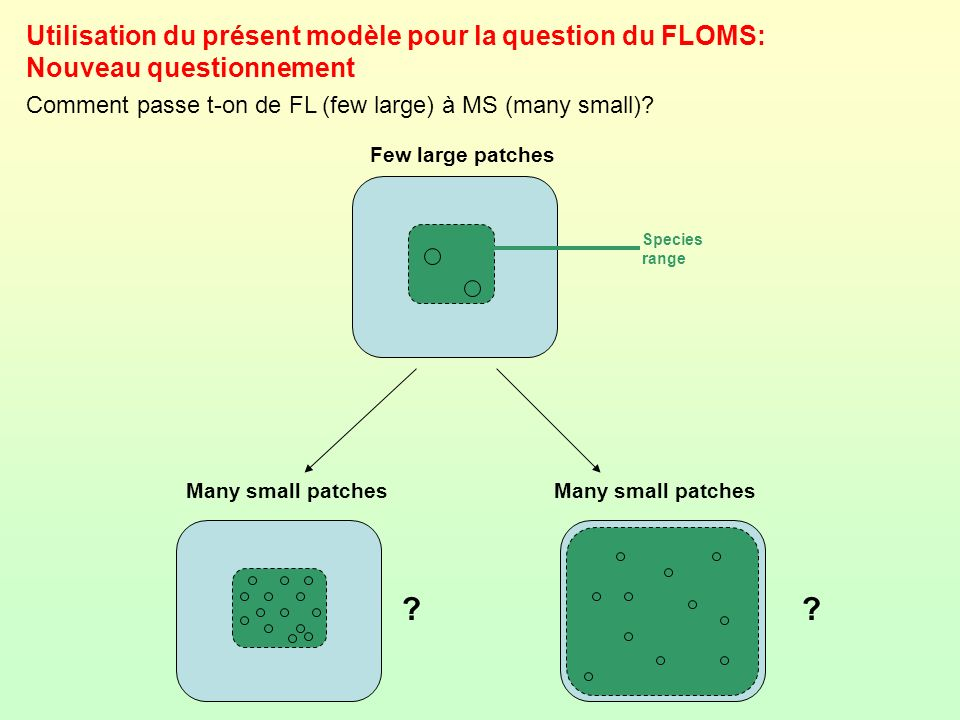 Utilisation du présent modèle pour la question du FLOMS: Nouveau questionnement Comment passe t-on de FL (few large) à MS (many small)? Few large patc