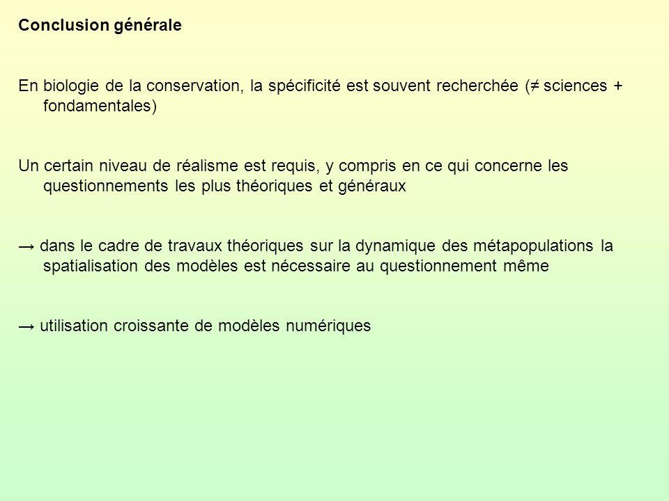 Conclusion générale En biologie de la conservation, la spécificité est souvent recherchée ( sciences + fondamentales) Un certain niveau de réalisme es