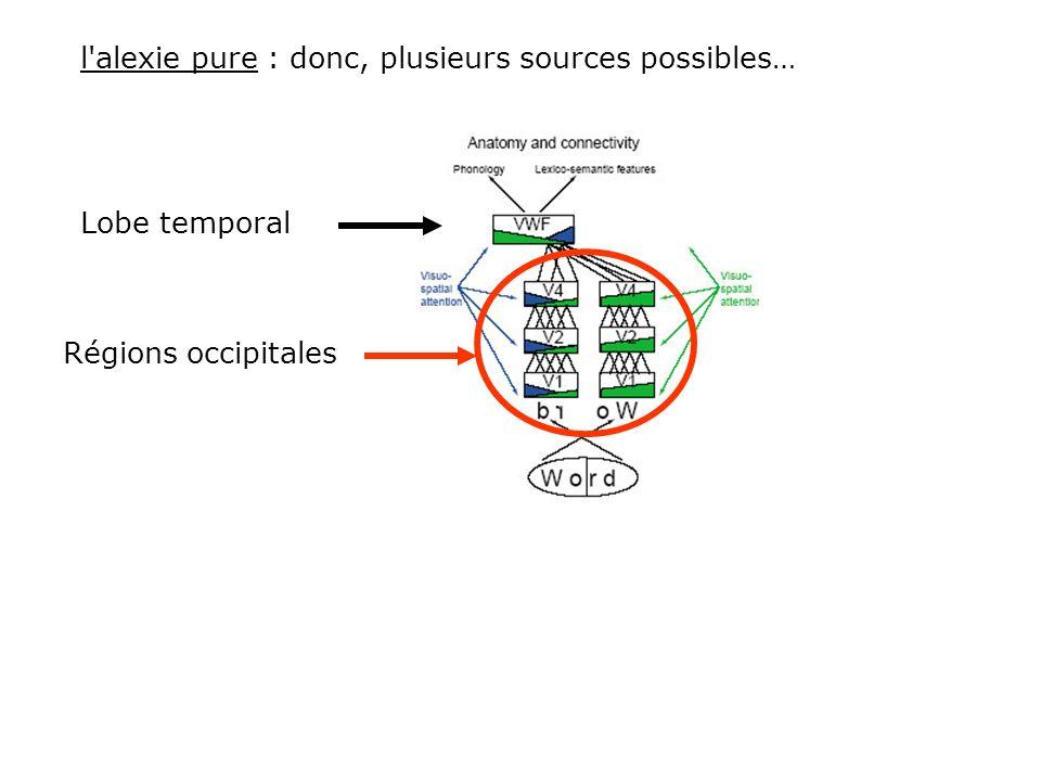 Analyse des traits élémentaires Des lettres Des mots Spécialisation hémisphérique : Pour les objets, sil manque quelques traits, limage peut être reco