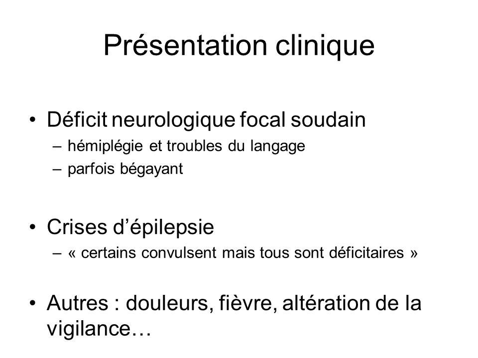Diagnostic différentiel Epilepsie (paralysie de Todd) Migraine (forme hémiplégique) Hémorragies cérébrales Thromboses veineuses cérébrales Atteintes inflammatoires ou infectieuses du SNC Processus expansif intracrânien AMC : MELAS, anomalies du cycle de lurée
