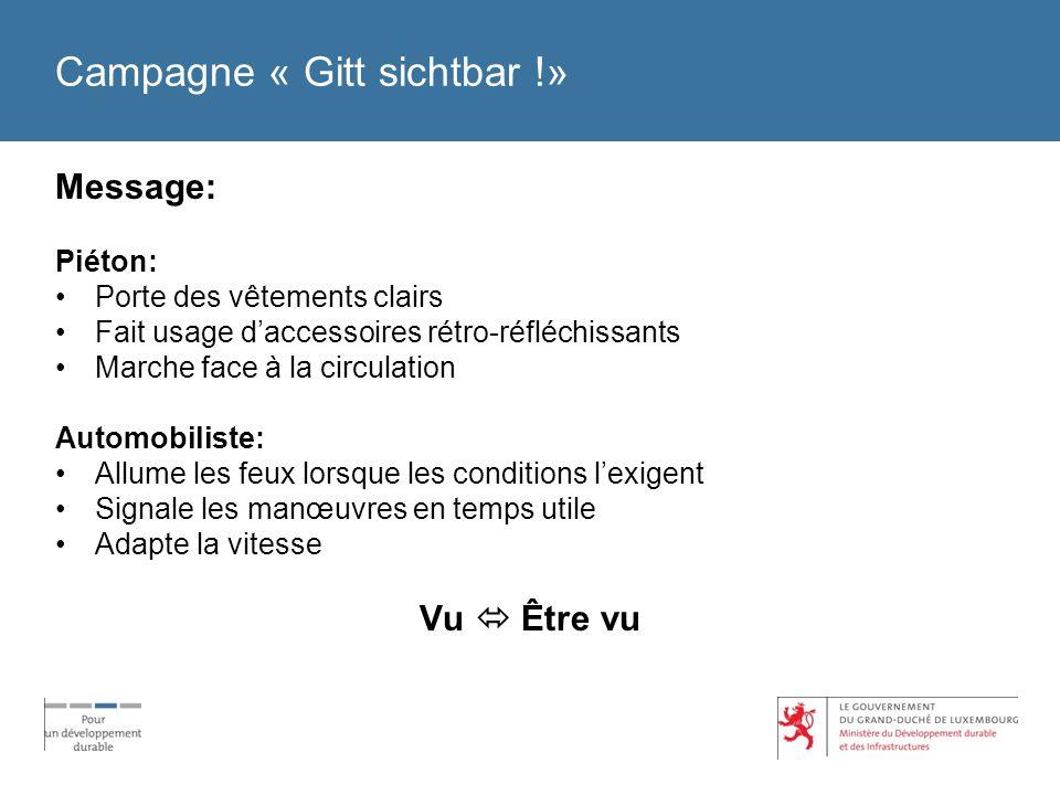 Campagne « Gitt sichtbar !» Message: Piéton: Porte des vêtements clairs Fait usage daccessoires rétro-réfléchissants Marche face à la circulation Auto