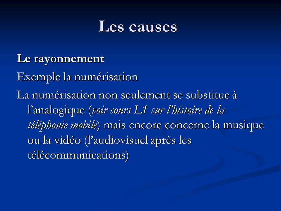Les causes Le rayonnement Exemple la numérisation La numérisation non seulement se substitue à lanalogique (voir cours L1 sur lhistoire de la téléphon