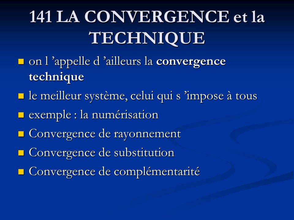 141 LA CONVERGENCE et la TECHNIQUE on l appelle d ailleurs la convergence technique on l appelle d ailleurs la convergence technique le meilleur systè