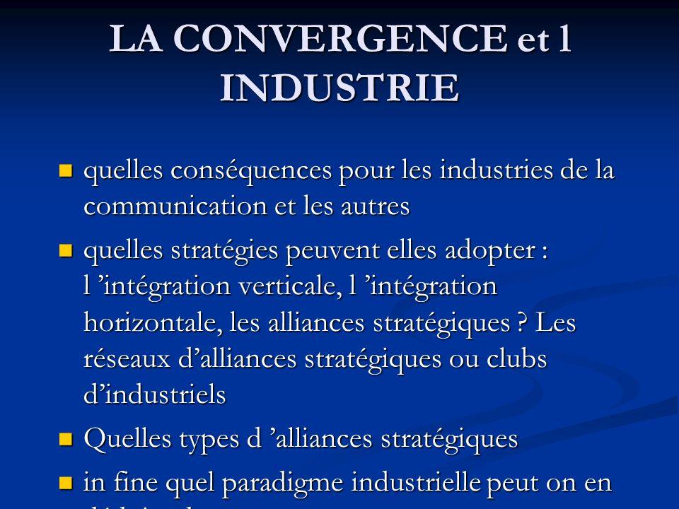 LA CONVERGENCE et l INDUSTRIE quelles conséquences pour les industries de la communication et les autres quelles conséquences pour les industries de l