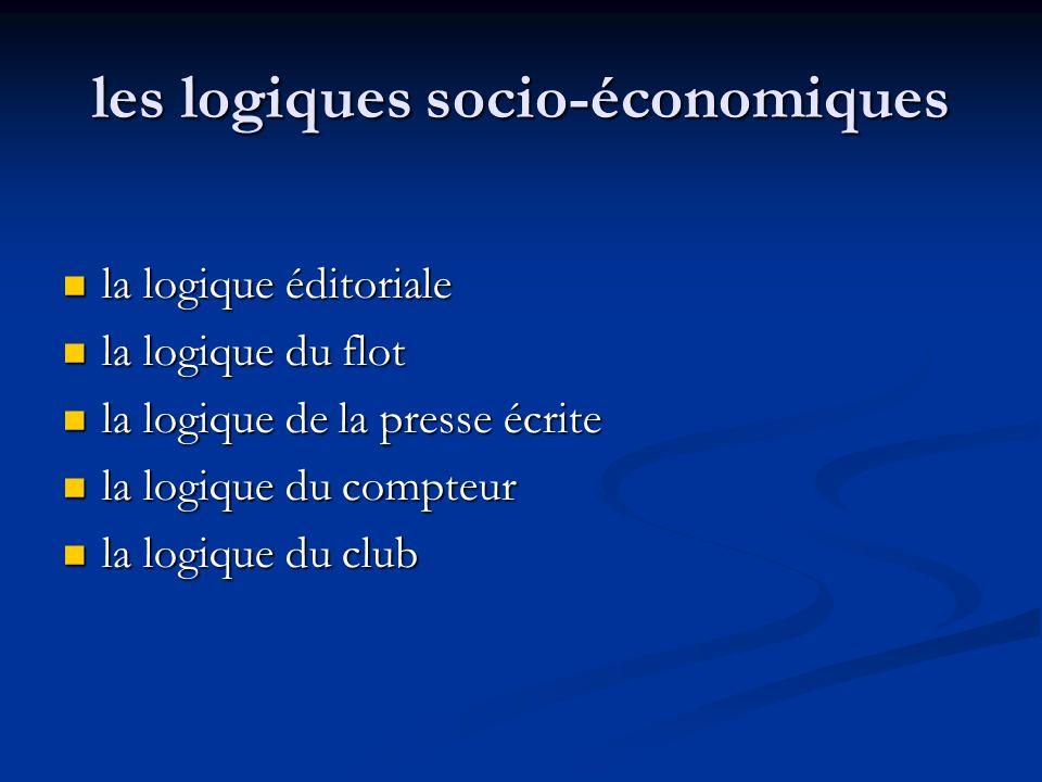 les logiques socio-économiques la logique éditoriale la logique éditoriale la logique du flot la logique du flot la logique de la presse écrite la log