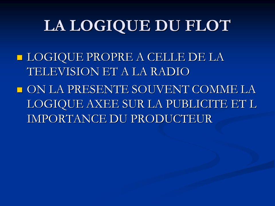 LA LOGIQUE DU FLOT LOGIQUE PROPRE A CELLE DE LA TELEVISION ET A LA RADIO LOGIQUE PROPRE A CELLE DE LA TELEVISION ET A LA RADIO ON LA PRESENTE SOUVENT