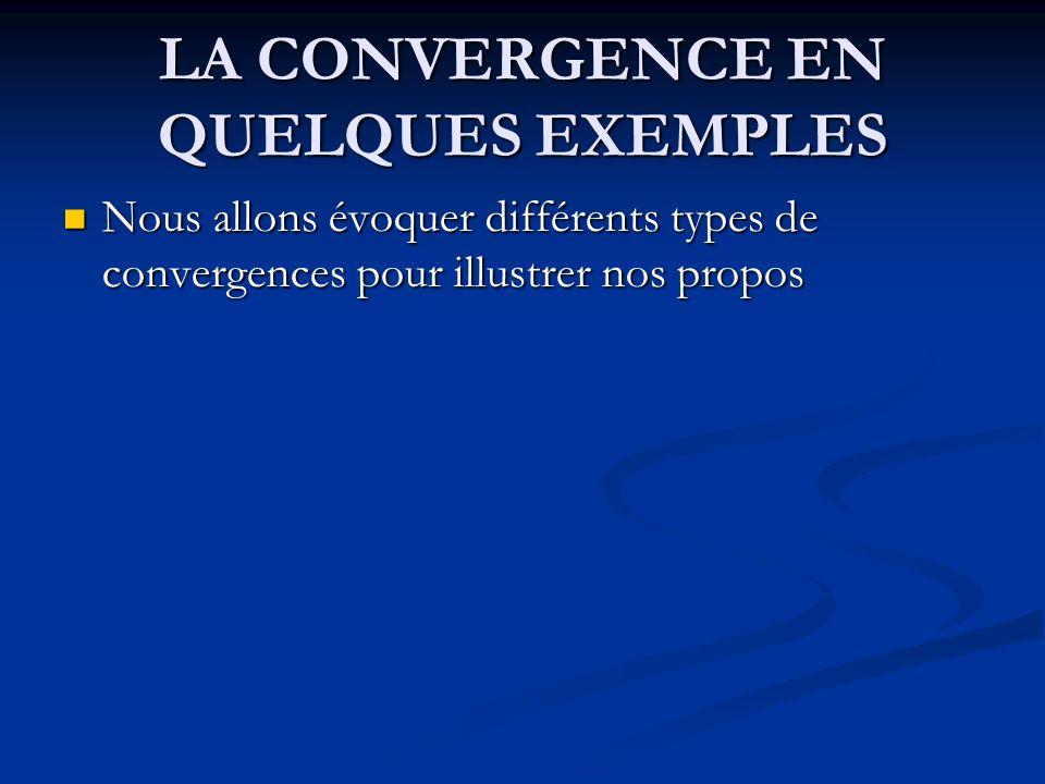 LA CONVERGENCE EN QUELQUES EXEMPLES Nous allons évoquer différents types de convergences pour illustrer nos propos Nous allons évoquer différents type