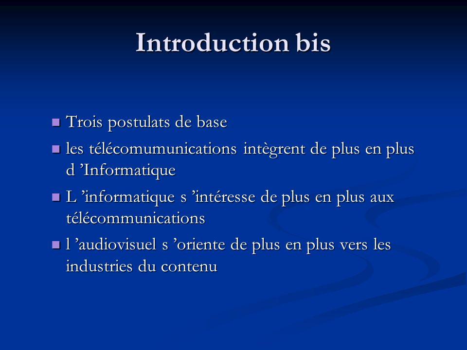 Introduction bis Trois postulats de base Trois postulats de base les télécomumunications intègrent de plus en plus d Informatique les télécomumunicati
