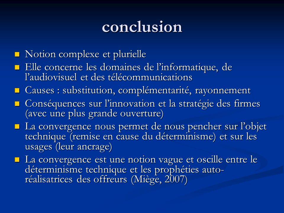 conclusion Notion complexe et plurielle Notion complexe et plurielle Elle concerne les domaines de linformatique, de laudiovisuel et des télécommunica