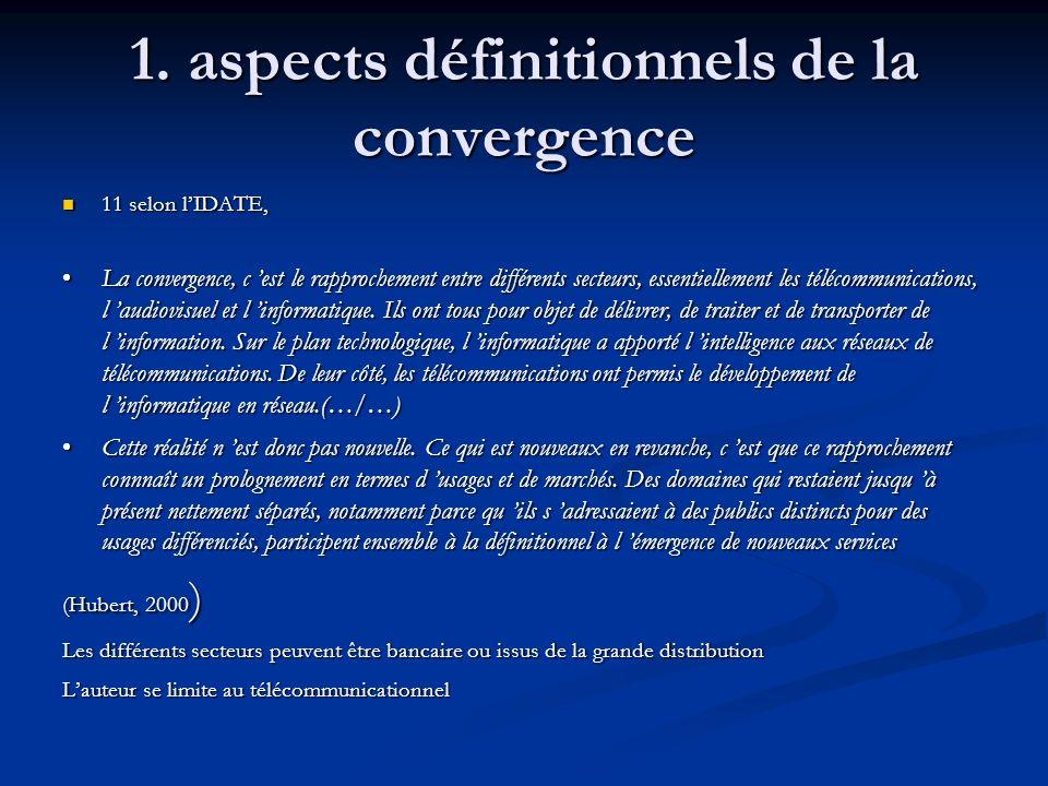 1. aspects définitionnels de la convergence 11 selon lIDATE, 11 selon lIDATE, La convergence, c est le rapprochement entre différents secteurs, essent