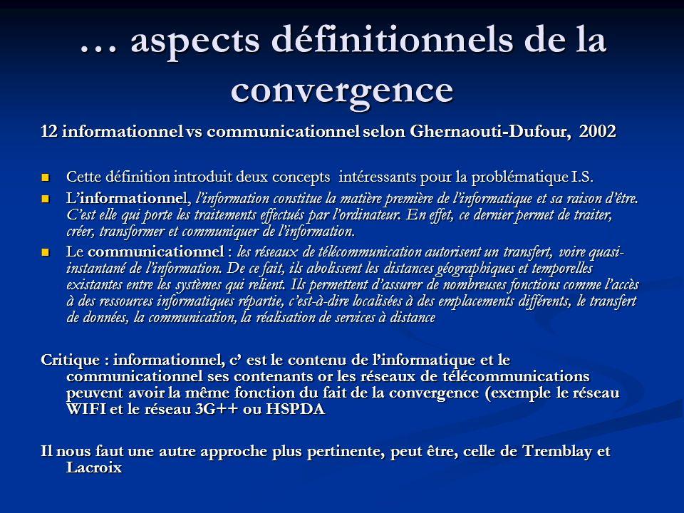 … aspects définitionnels de la convergence 12 informationnel vs communicationnel selon Ghernaouti-Dufour, 2002 Cette définition introduit deux concept