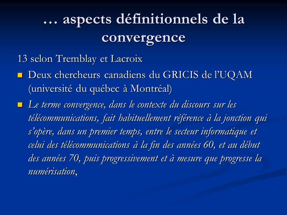… aspects définitionnels de la convergence 13 selon Tremblay et Lacroix Deux chercheurs canadiens du GRICIS de lUQAM (université du québec à Montréal)